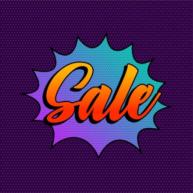 Modello di sfondo vendita viola stile comico Vettore gratuito