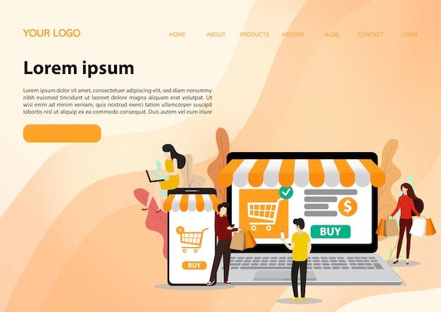Modello di shopping online. illustrazione piatta Vettore Premium