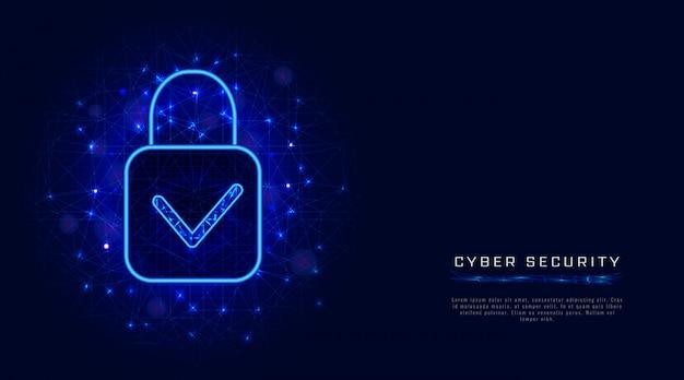 Modello di sicurezza informatica con lucchetto e segno di spunta su sfondo blu astratto. design di banner Vettore Premium