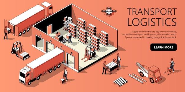 Modello di sito 3d isometrico - logistica dei trasporti Vettore gratuito