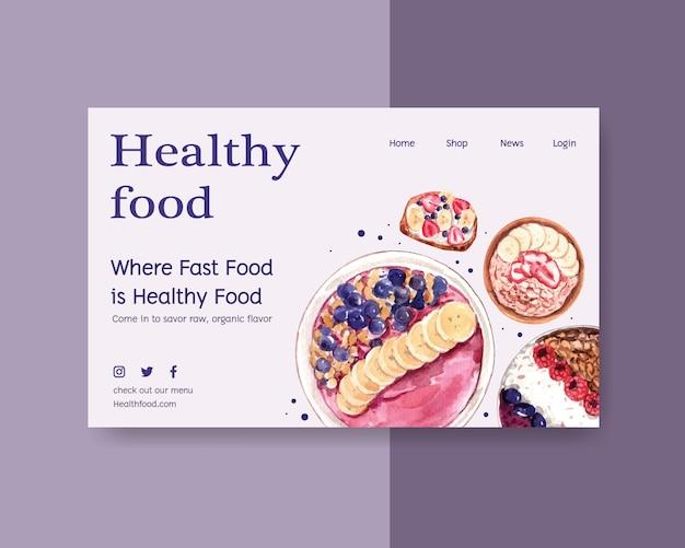 Modello di sito web con design di alimenti sani e biologici Vettore gratuito