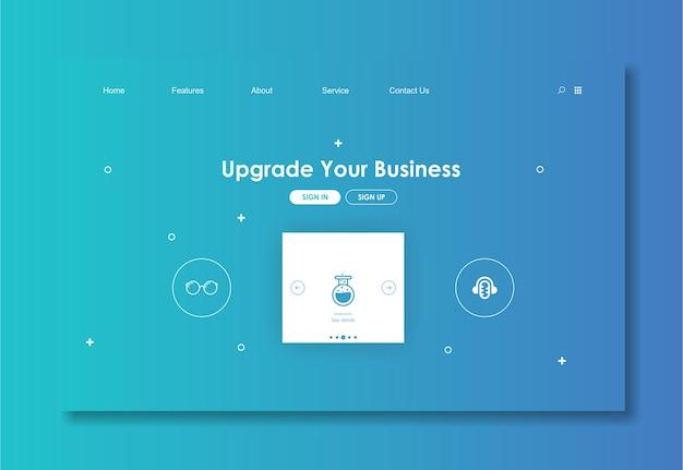 Modello di sito web con sfondo blu Vettore Premium