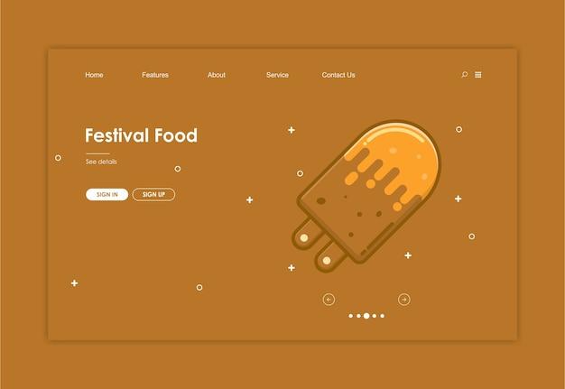 Modello di sito web con sfondo di cibo Vettore Premium