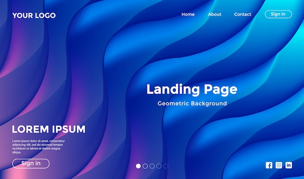 Modello di sito web con sfondo geometrico forma moderna Vettore Premium