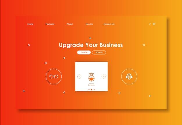 Modello di sito web con sfondo rosso Vettore Premium