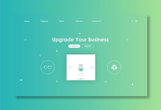 Modello di sito web con sfondo verde Vettore Premium