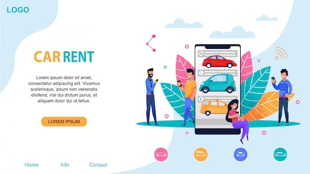 Modello di sito web di autonoleggio. ride sharing station. Vettore Premium