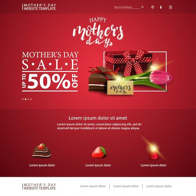 Modello di sito web di sconto festa della mamma con regalo, tulipano e caramelle Vettore Premium