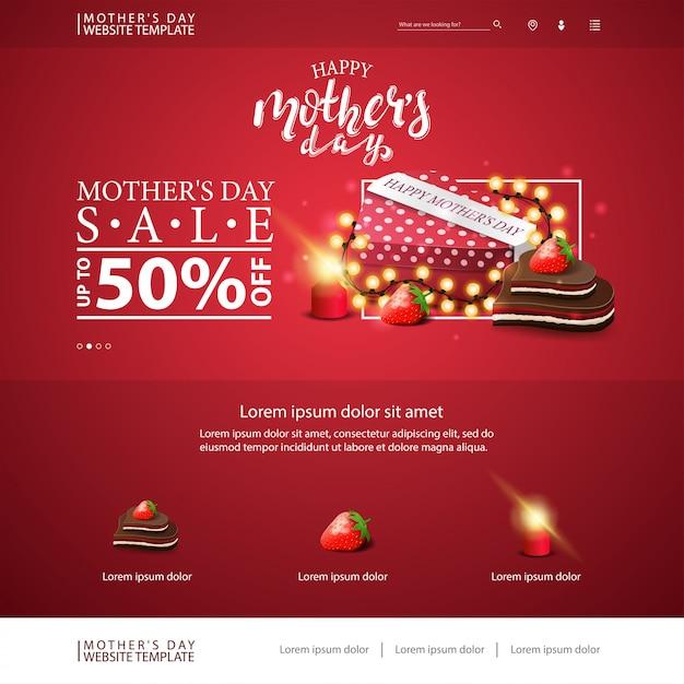 Modello di sito web di sconto festa della mamma Vettore Premium