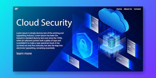 Modello di sito web di sicurezza isometrica del cloud. Vettore Premium