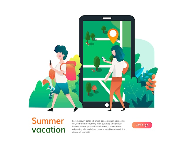Modello di sito web di vacanze estive, progettazione di pagine web e pagine di destinazione per lo sviluppo di siti web Vettore Premium