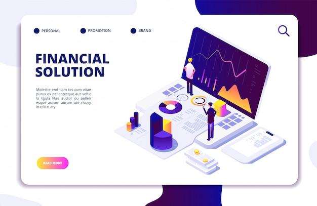 Modello di sito web isometrica manager di finanza di economia Vettore Premium
