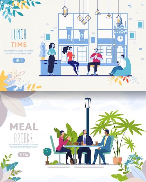 Modello di sito web o pagina di destinazione. pranzare uomini d'affari Vettore Premium