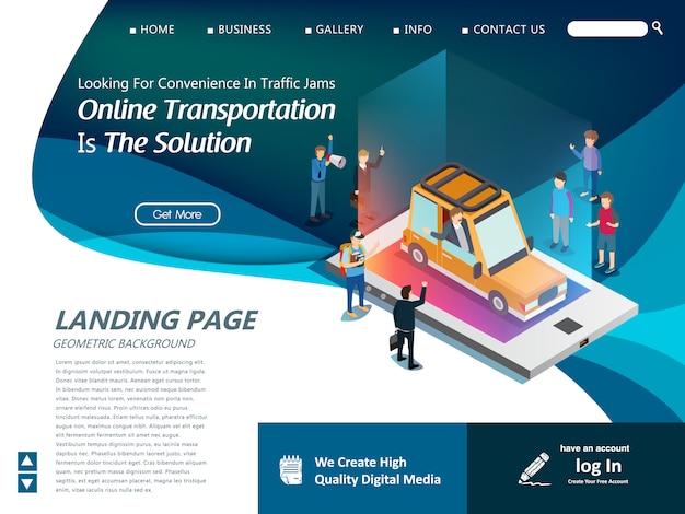 Modello di sito web per la moderna tecnologia di trasporto Vettore Premium