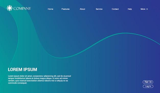 Modello di sito web per siti web o app. onde fluido liquido gradiente minimal moderno Vettore Premium