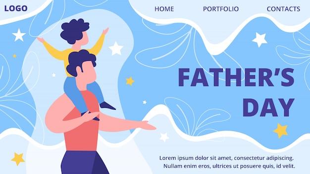 Modello di sito web piatto festa del papà Vettore Premium