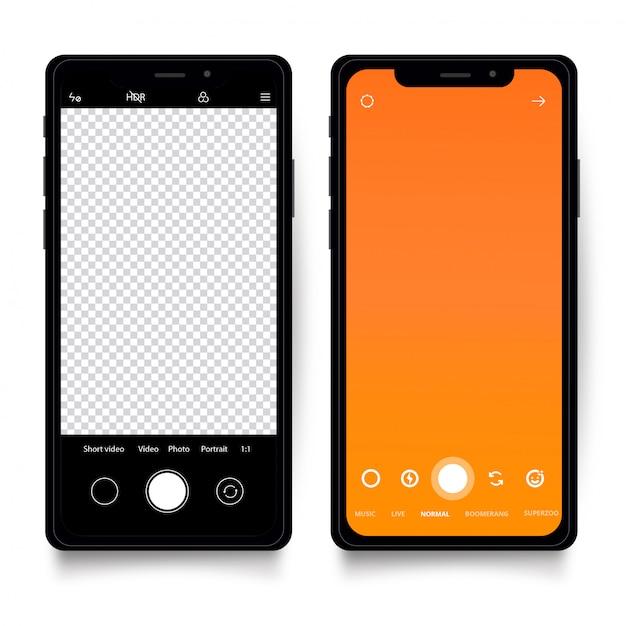 Modello di smartphone con interfaccia fotocamera Vettore gratuito