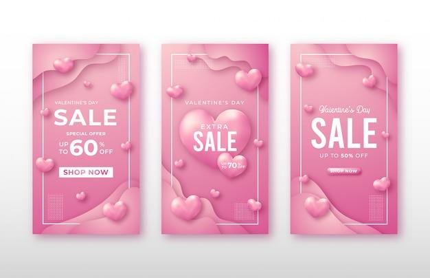 Modello di social media storia di san valentino Vettore Premium