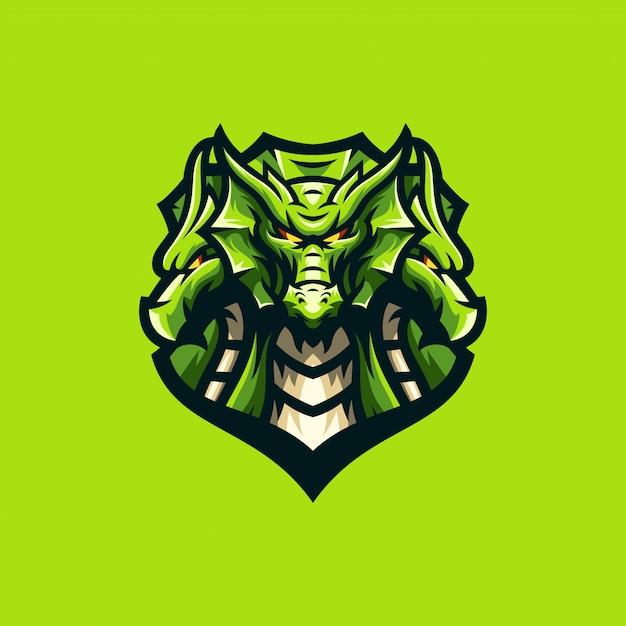 Modello di sport logo drago impressionante Vettore Premium