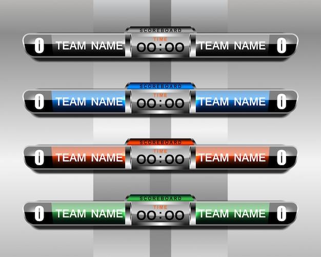 Modello di sport tabellone per il calcio e il calcio Vettore Premium