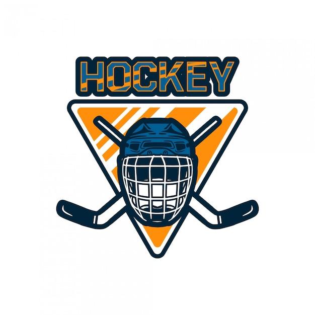 Modello di squadra distintivo logo hockey con casco e bastone Vettore Premium