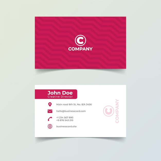 Modello di stampa minimalista biglietto da visita di colore rosso. Vettore Premium