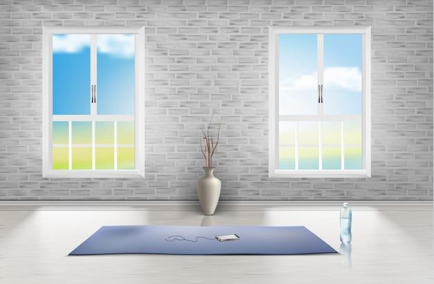 Modello di stanza vuota con muro di mattoni, due finestre, moquette blu, vaso e bottiglia d'acqua Vettore gratuito