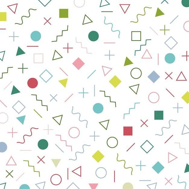 Modello di stile memphis elementi geometrici colorati Vettore Premium