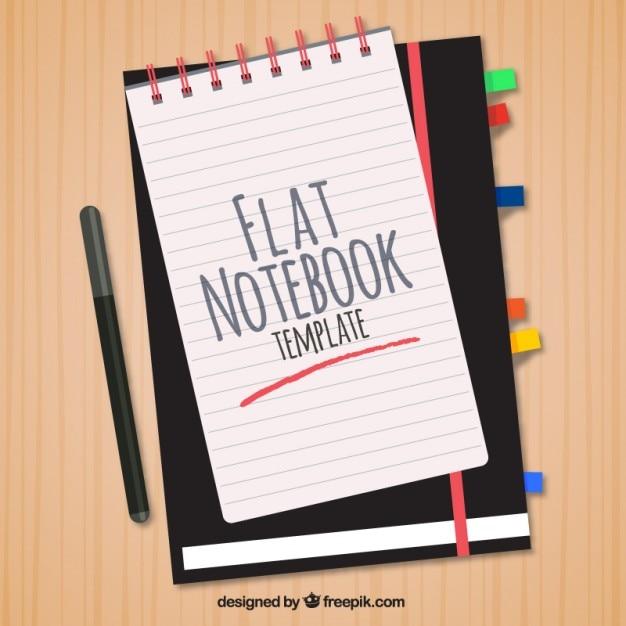 Modello di stile piatto bello per notebook Vettore gratuito