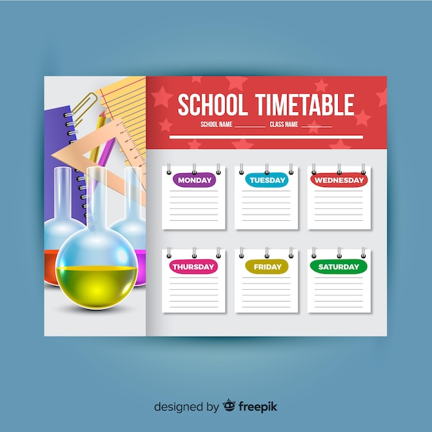 Modello di stile realistico orario scuola Vettore gratuito