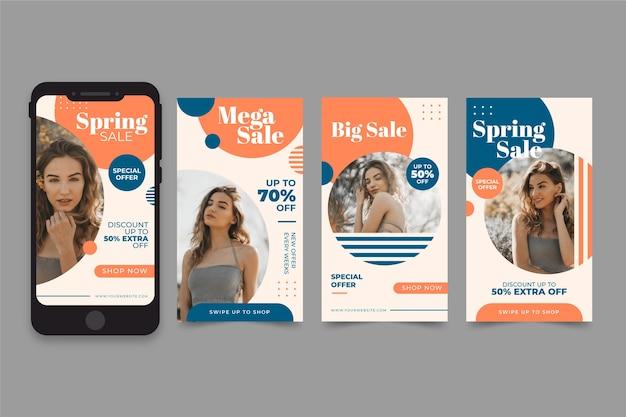 Modello di storia instagram vendita primavera Vettore gratuito