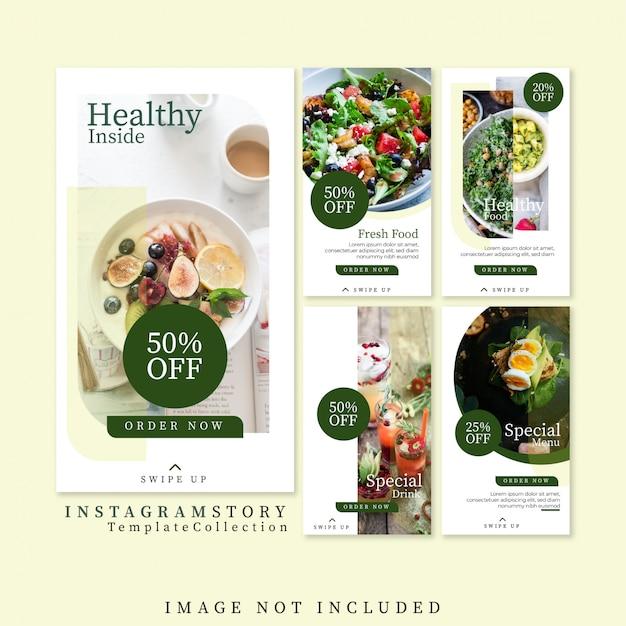Modello di storie di instagram cibo sano gratis Vettore Premium