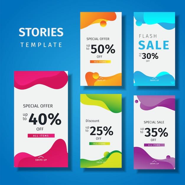 Modello di storie di instagram colorati fluidi Vettore Premium
