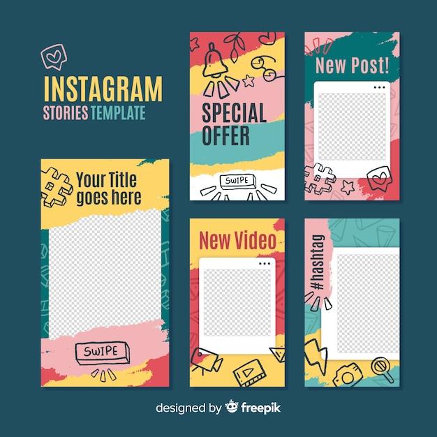 Modello di storie di instagram con cornice vuota Vettore gratuito
