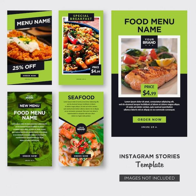 Modello di storie di instagram di cibo Vettore Premium