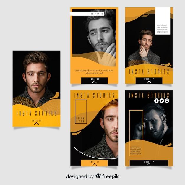 Modello di storie di instagram fluido giallo Vettore gratuito