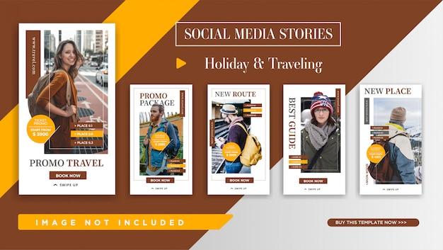 Modello di storie di instagram per la promozione itinerante. design elegante del banner per la promozione sui social media. Vettore Premium