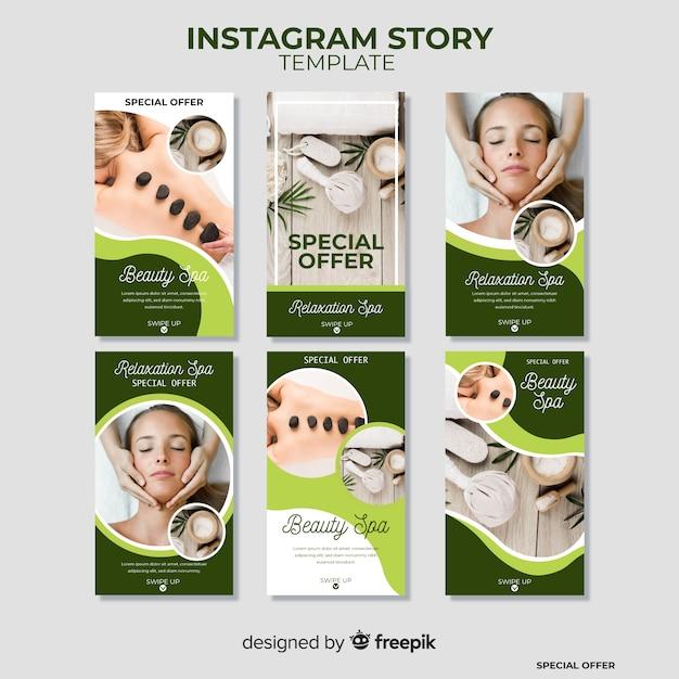 Modello di storie di instagram spa Vettore gratuito