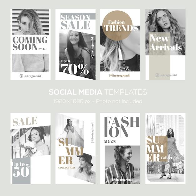 Modello di storie di instagram. vendita di moda, sconto, estate ecc. Vettore Premium