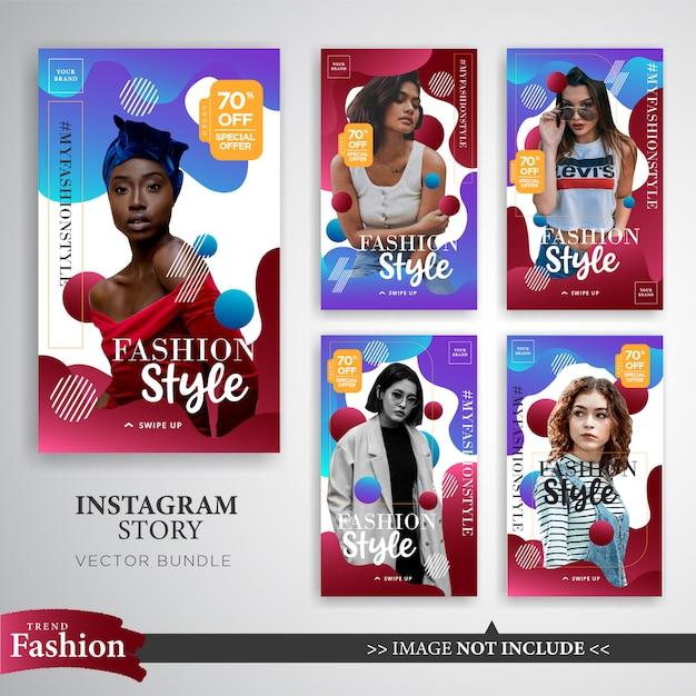 Modello di storie di instagram vendita moda colorato Vettore Premium