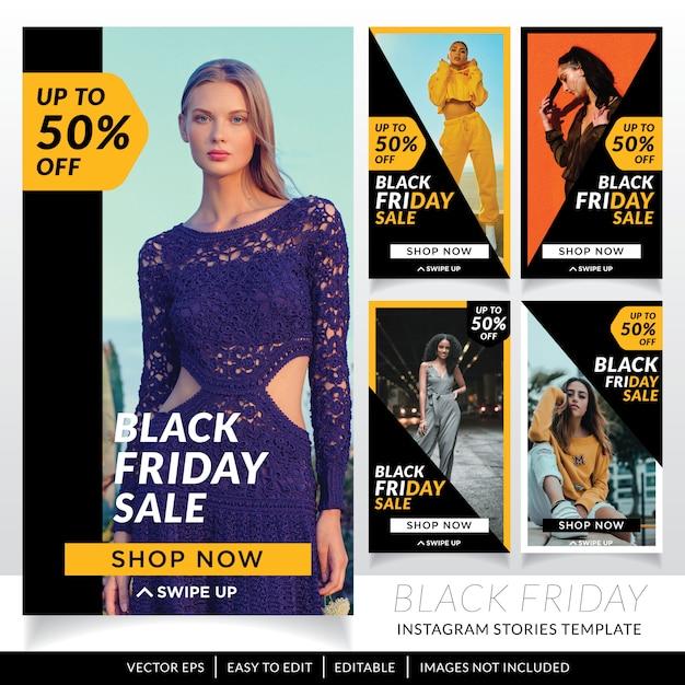 Modello di storie di social media di vendita venerdì nero Vettore Premium