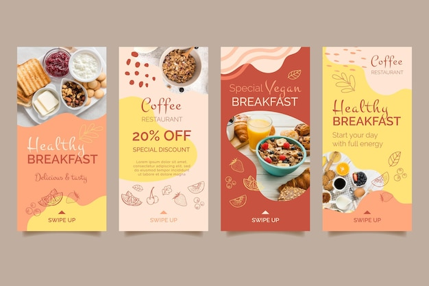 Modello di storie social media colazione sana Vettore gratuito