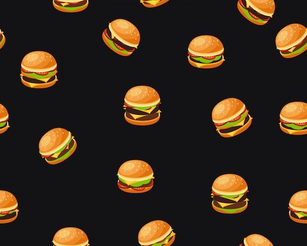 Modello di struttura piana senza cuciture di vettore hamburger Vettore Premium