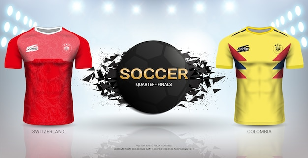 Modello di svizzera vs colombia soccer jersey. Vettore Premium