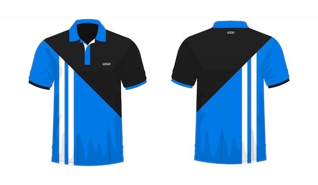 Modello di t-shirt polo blu e nero per il design su sfondo bianco. Vettore Premium