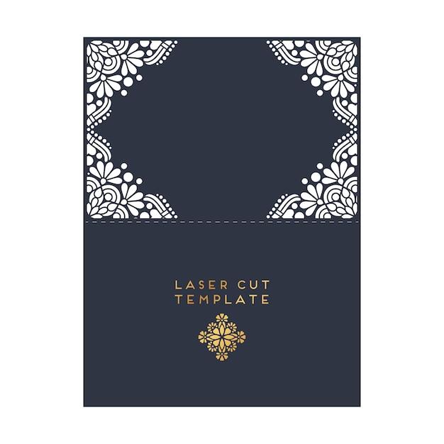 Modello di taglio del laser di carta di nozze vettoriale Elementi decorativi d'epoca Vettore gratuito
