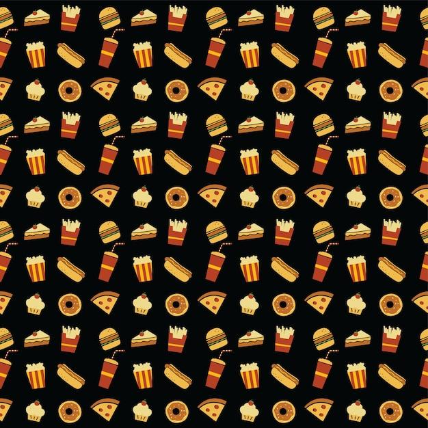 Modello di tema ristorante fastfood senza soluzione di continuità Vettore Premium
