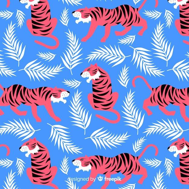 Modello di tigre selvaggia disegnato a mano Vettore gratuito