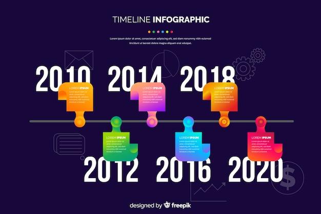 Modello di timeline infografica business piatto Vettore gratuito