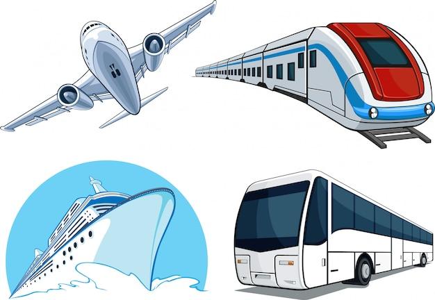 Modello di trasporto: aereo, nave da crociera, treno, autobus Vettore Premium